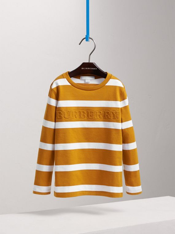 Long-sleeve Striped Cotton T-shirt in Ochre Yellow/white - Boy | Burberry - cell image 2