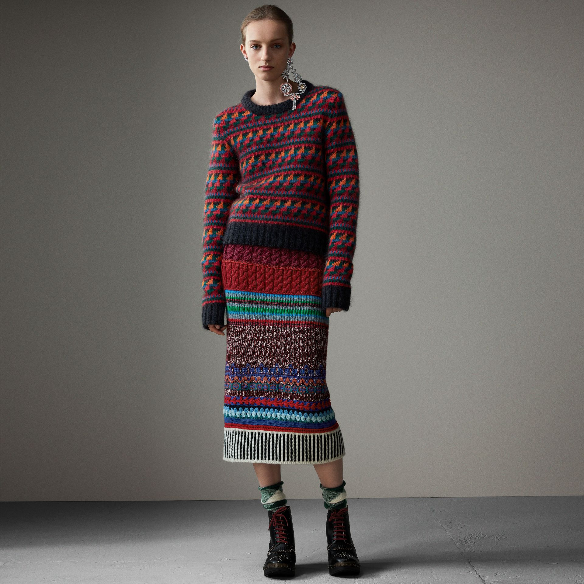 Hand-crocheted Detail Cashmere Wool Blend Skirt in Multicolour - Women | Burberry United Kingdom - gallery image 0