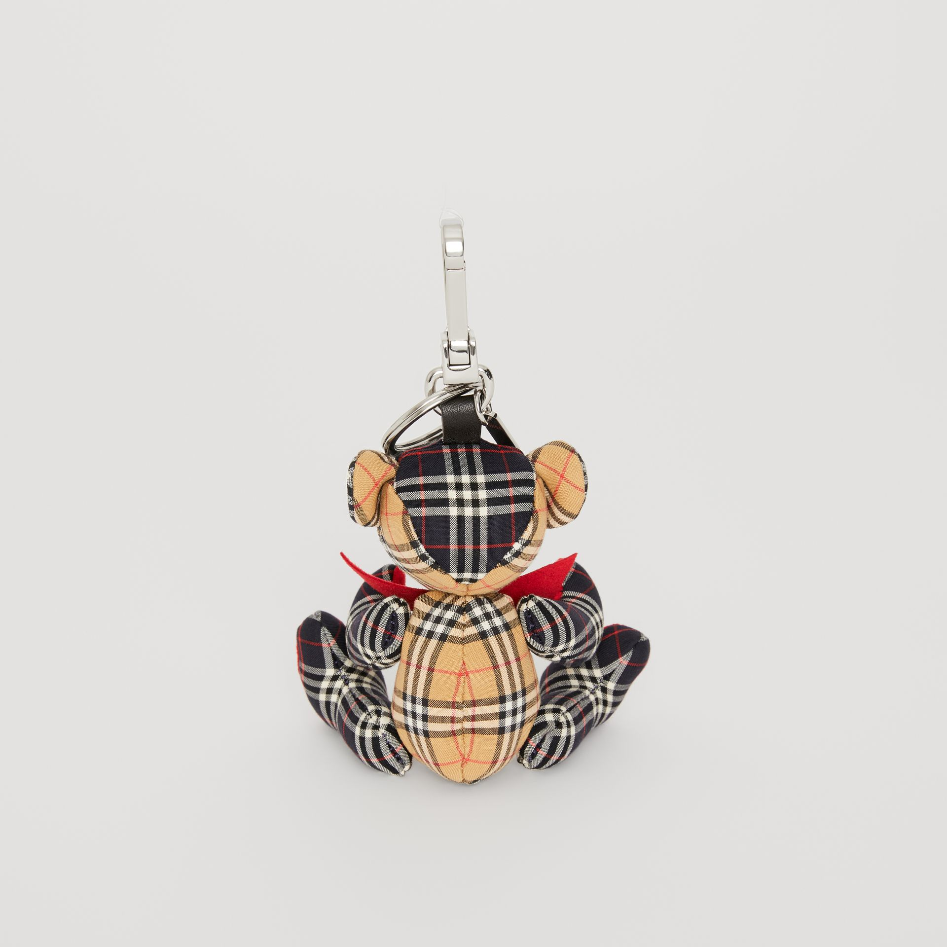 Thomas Bear Charm in Small Scale Check Cotton in Antique Yellow | Burberry - gallery image 3