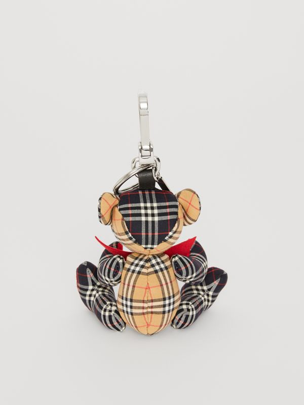 Thomas Bear Charm in Small Scale Check Cotton in Antique Yellow | Burberry - cell image 3