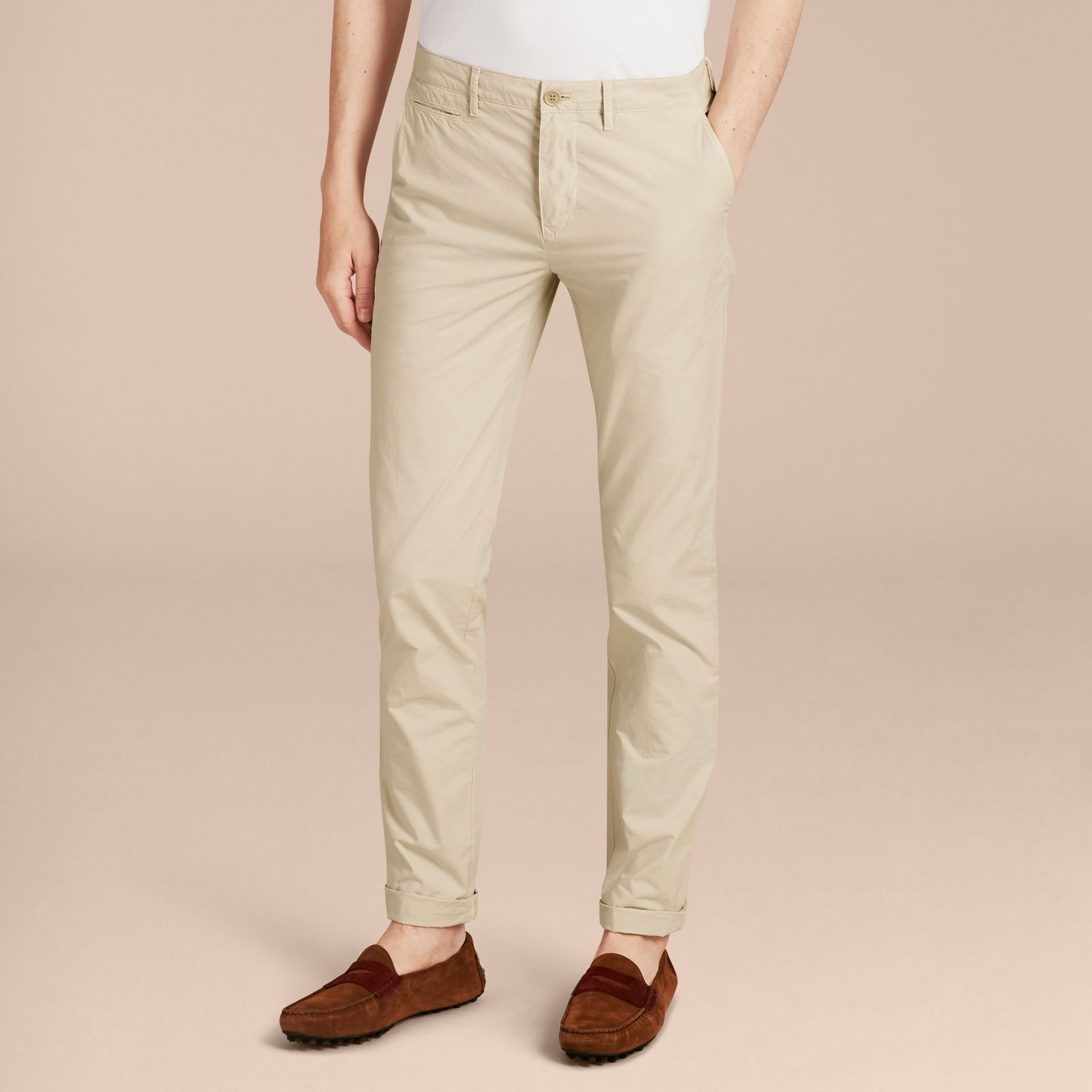 Slim Fit Cotton Poplin Chinos in Stone - Men | Burberry - gallery image 6