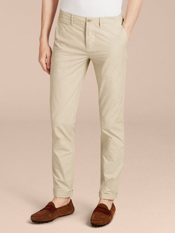 Slim Fit Cotton Poplin Chinos in Stone - Men | Burberry