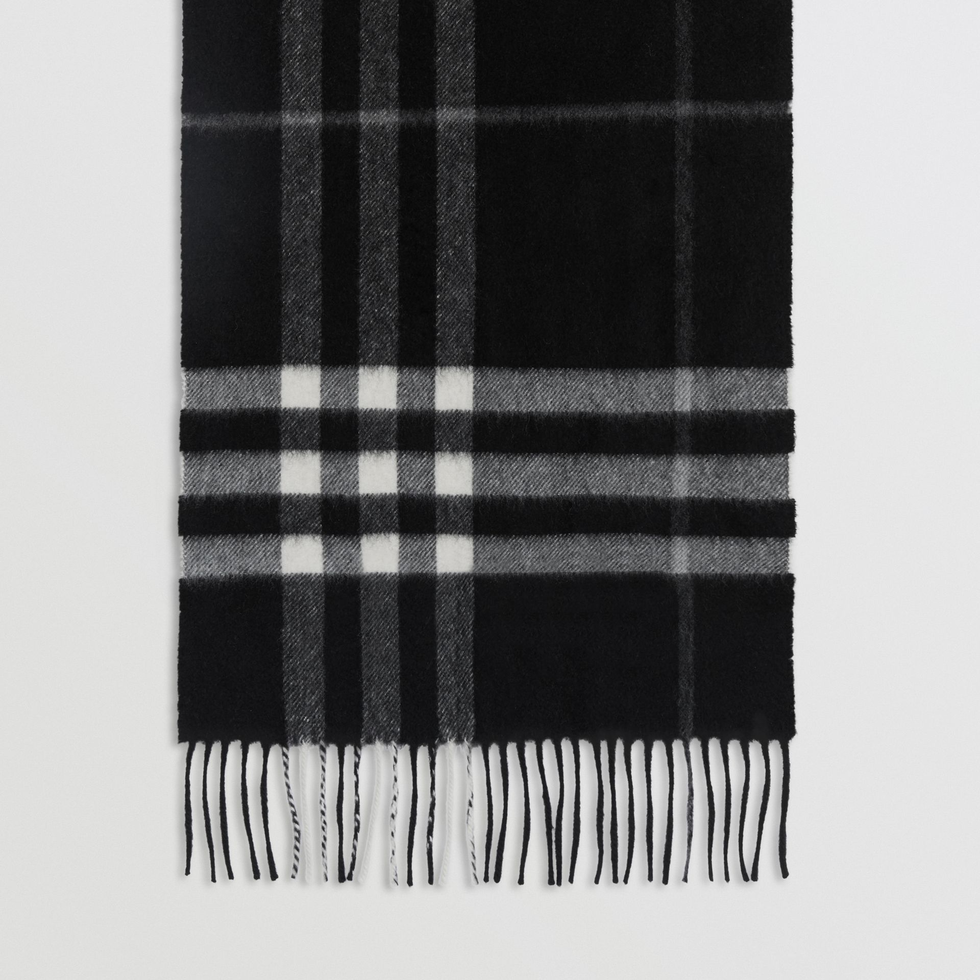 The Classic Check Cashmere Scarf in Black | Burberry United Kingdom - gallery image 4