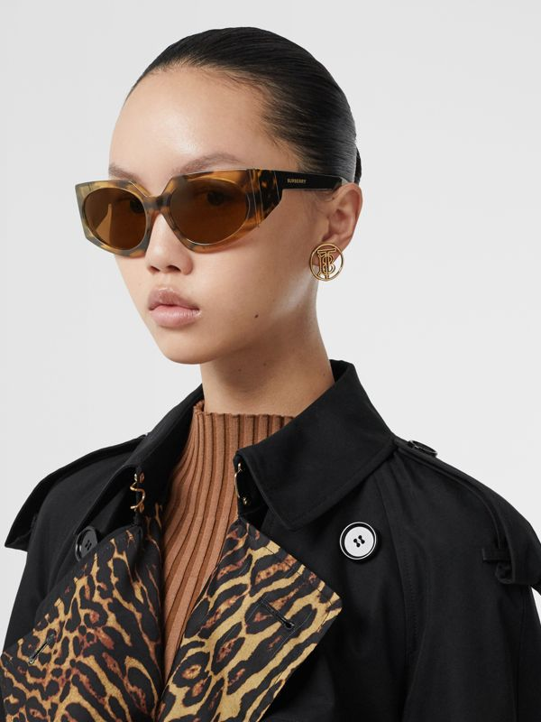 Geometric Frame Sunglasses in Bright Tortoiseshell - Women | Burberry - cell image 2