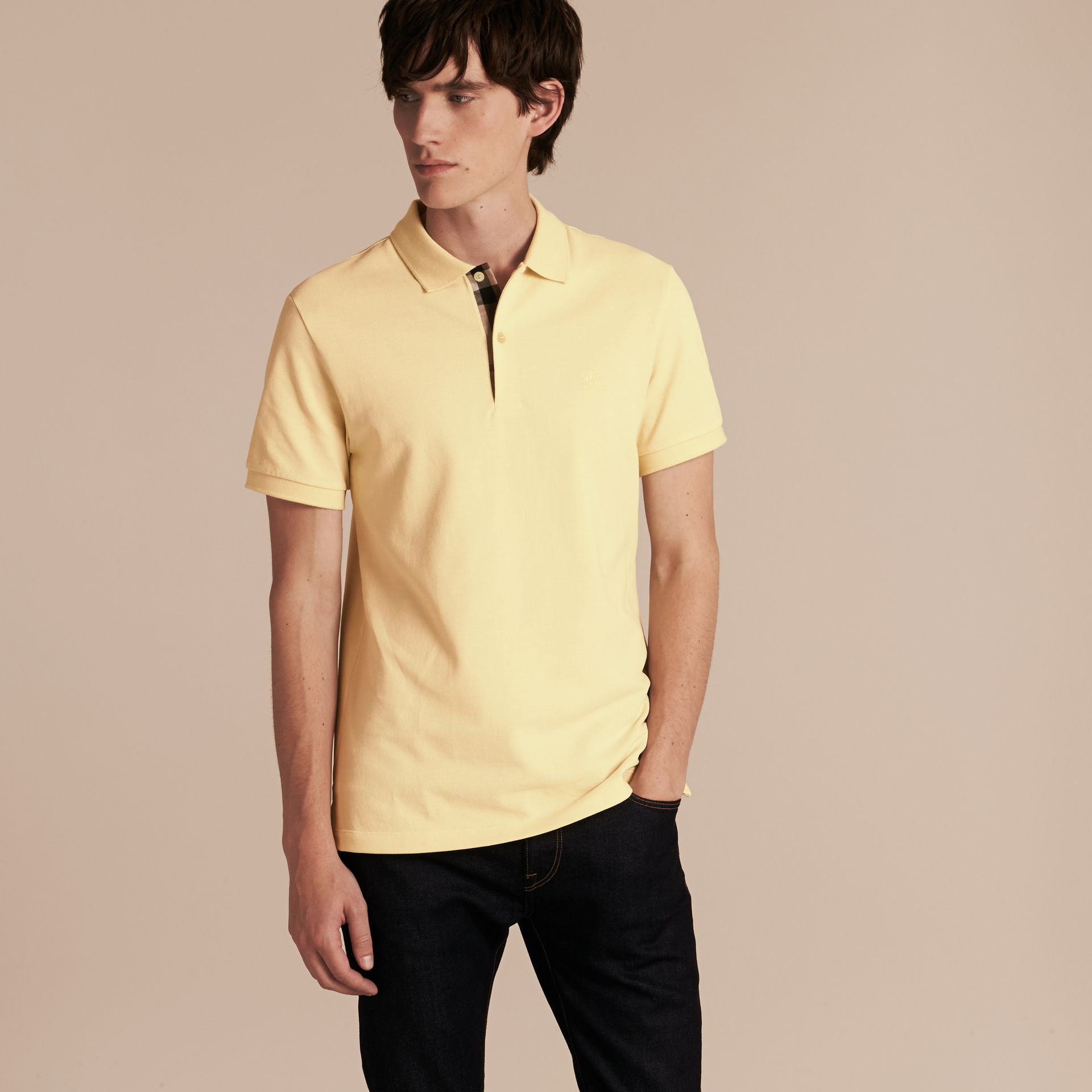 Check Placket Cotton Piqué Polo Shirt in Vanilla Yellow - Men | Burberry - gallery image 6