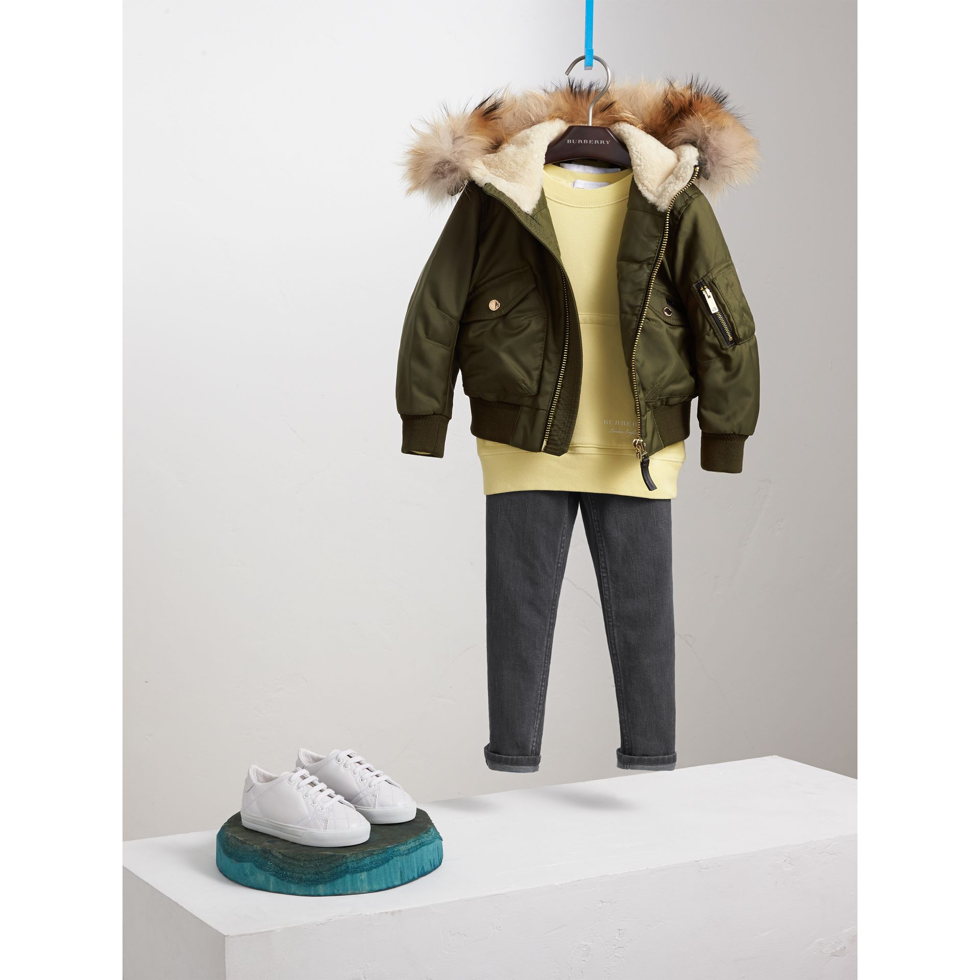 Detachable Fox Fur Trim Hood Technical Twill Bomber Jacket in Caper Green - Boy | Burberry - gallery image 1