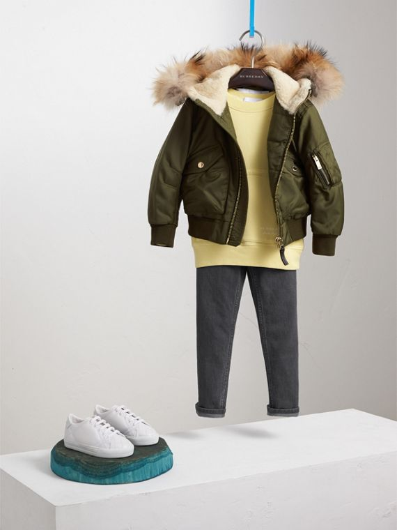 Detachable Fox Fur Trim Hood Technical Twill Bomber Jacket in Caper Green