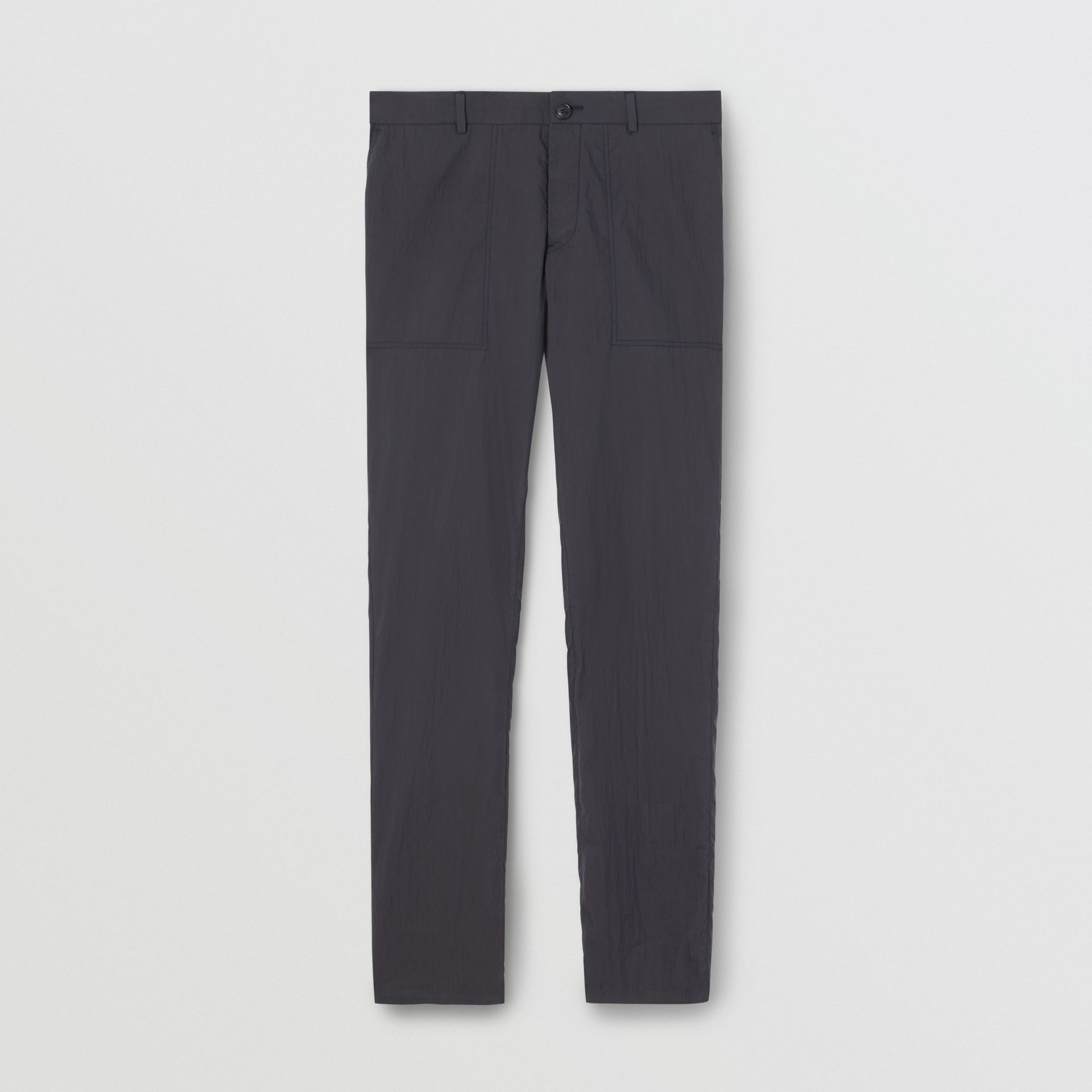 Classic Fit Cotton Blend Tailored Trousers in Navy - Men | Burberry Canada - gallery image 3