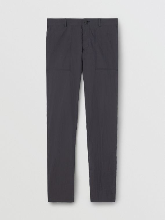 Classic Fit Cotton Blend Tailored Trousers in Navy