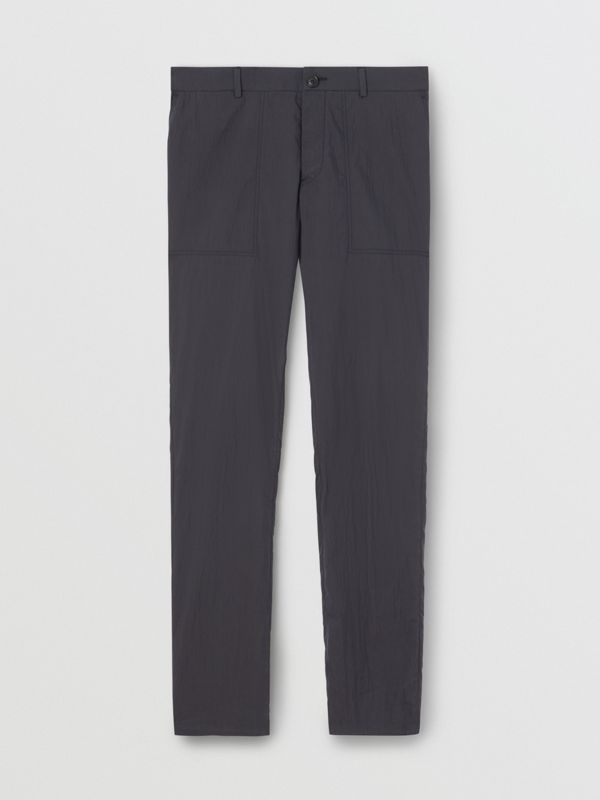 Classic Fit Cotton Blend Tailored Trousers in Navy - Men | Burberry - cell image 3