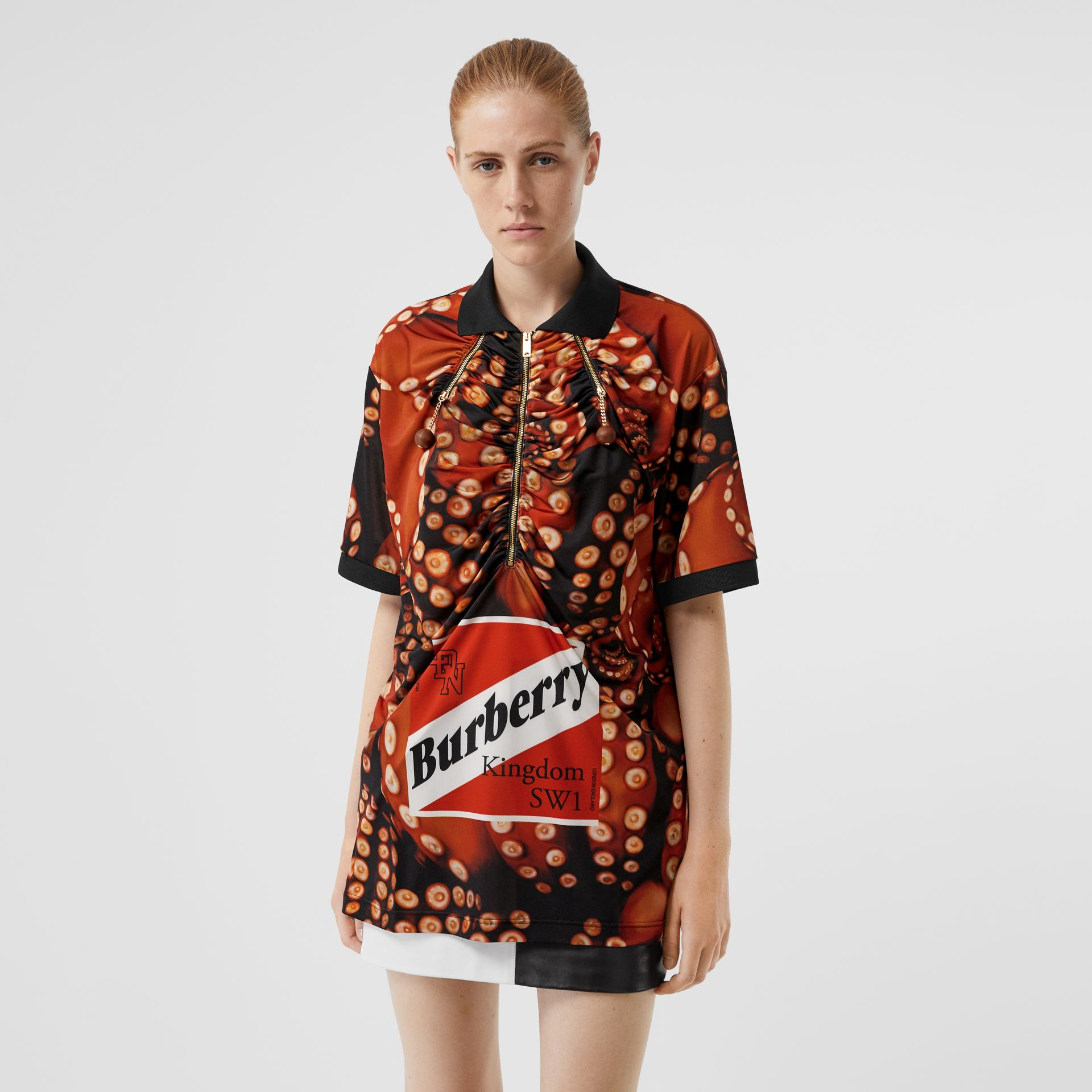Octopus Print Stretch Jersey Polo Shirt in Coral Red - Women | Burberry Australia - gallery image 5