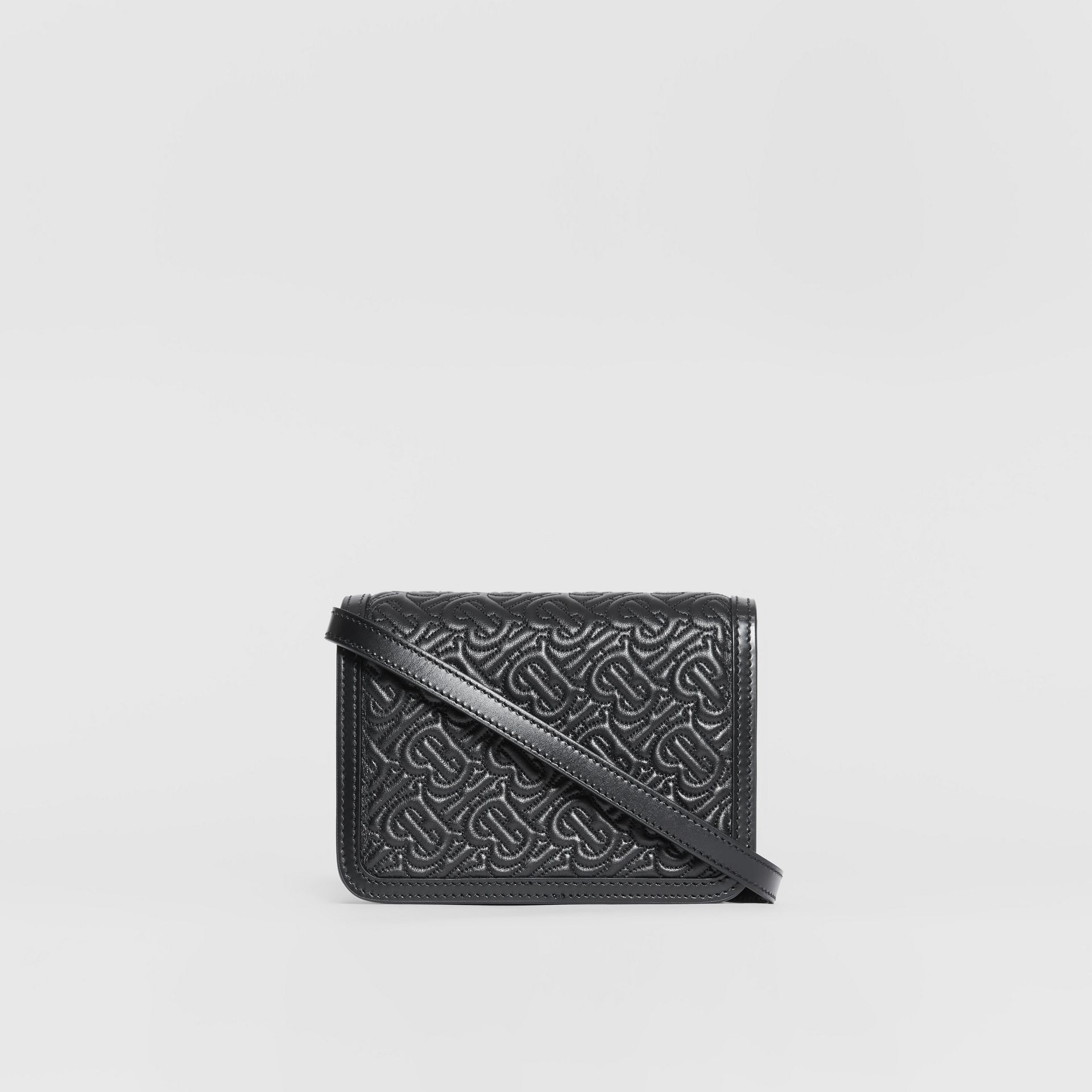 Mini Quilted Monogram Lambskin TB Bag in Black - Women | Burberry - gallery image 5