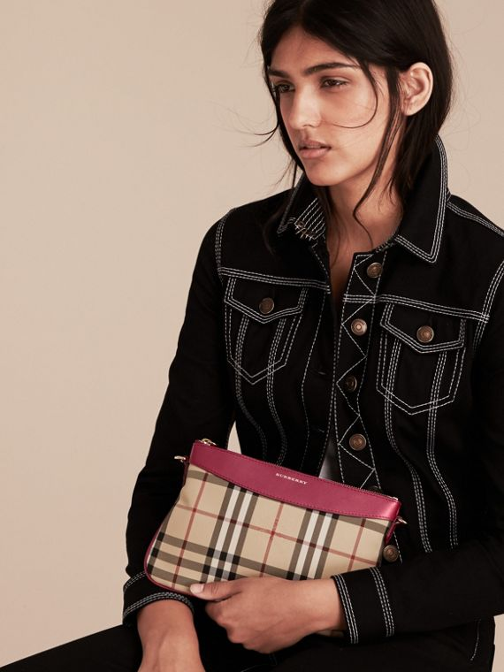 Dark plum Horseferry Check and Leather Clutch Bag Dark Plum - cell image 3