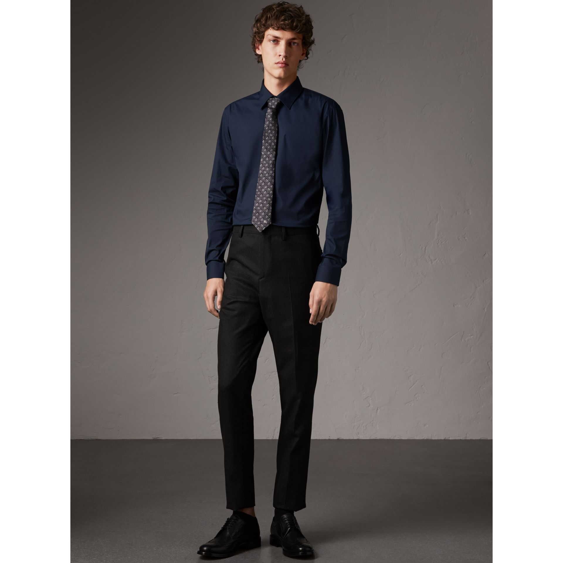 Slim Fit Stretch Cotton Shirt in Navy - Men | Burberry - gallery image 1