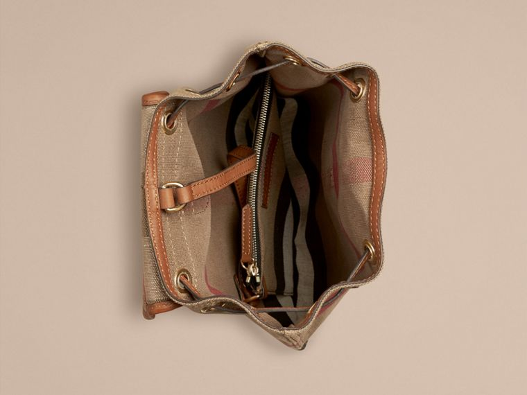 Tan Canvas Check Backpack with Leather Trim Tan - cell image 2