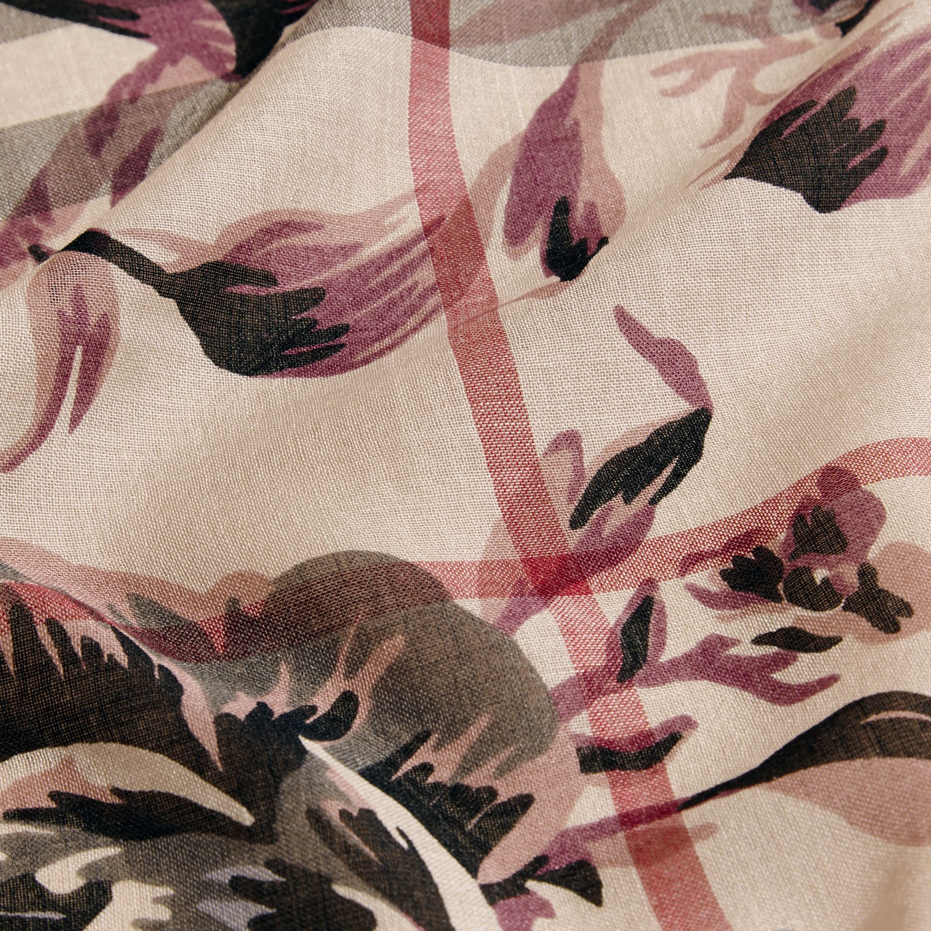 Peony Rose Print Check Wool Silk Scarf in Stone/ash - gallery image 2