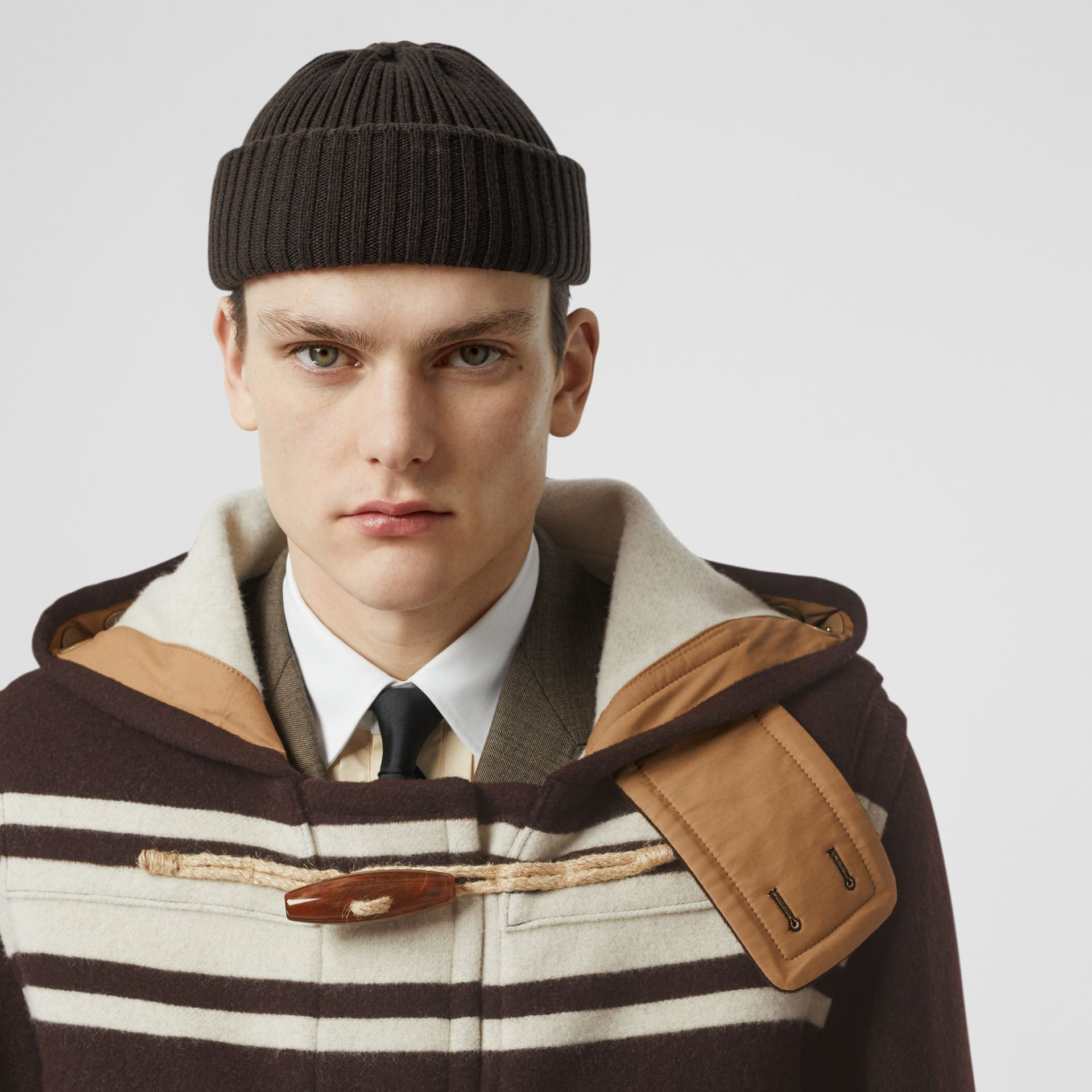 Stripe Detail Wool Duffle Coat in Camel - Men | Burberry - gallery image 7