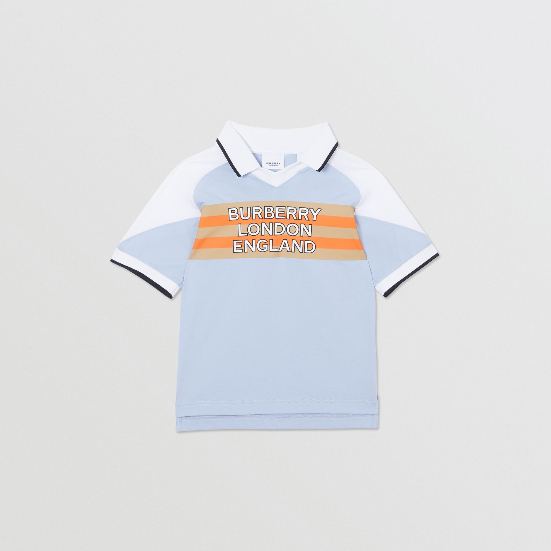 Logo Print Cotton Polo Shirt in Light Blue | Burberry United States - gallery image 0