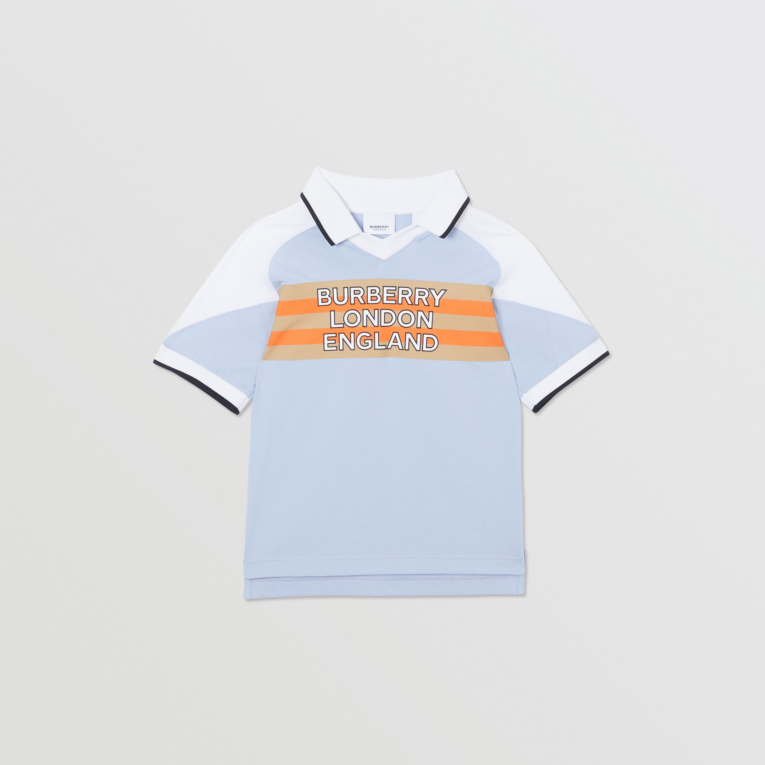 Logo Print Cotton Polo Shirt in Light Blue | Burberry - 1