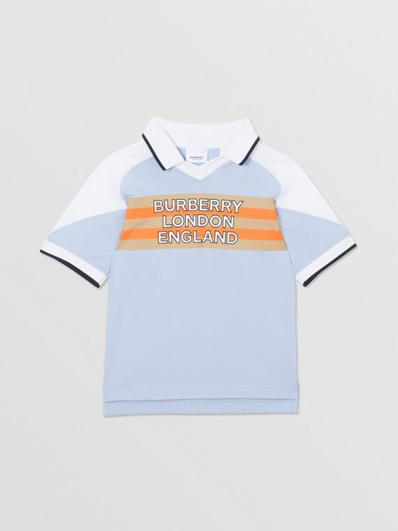 Logo Print Cotton Polo Shirt in Light Blue