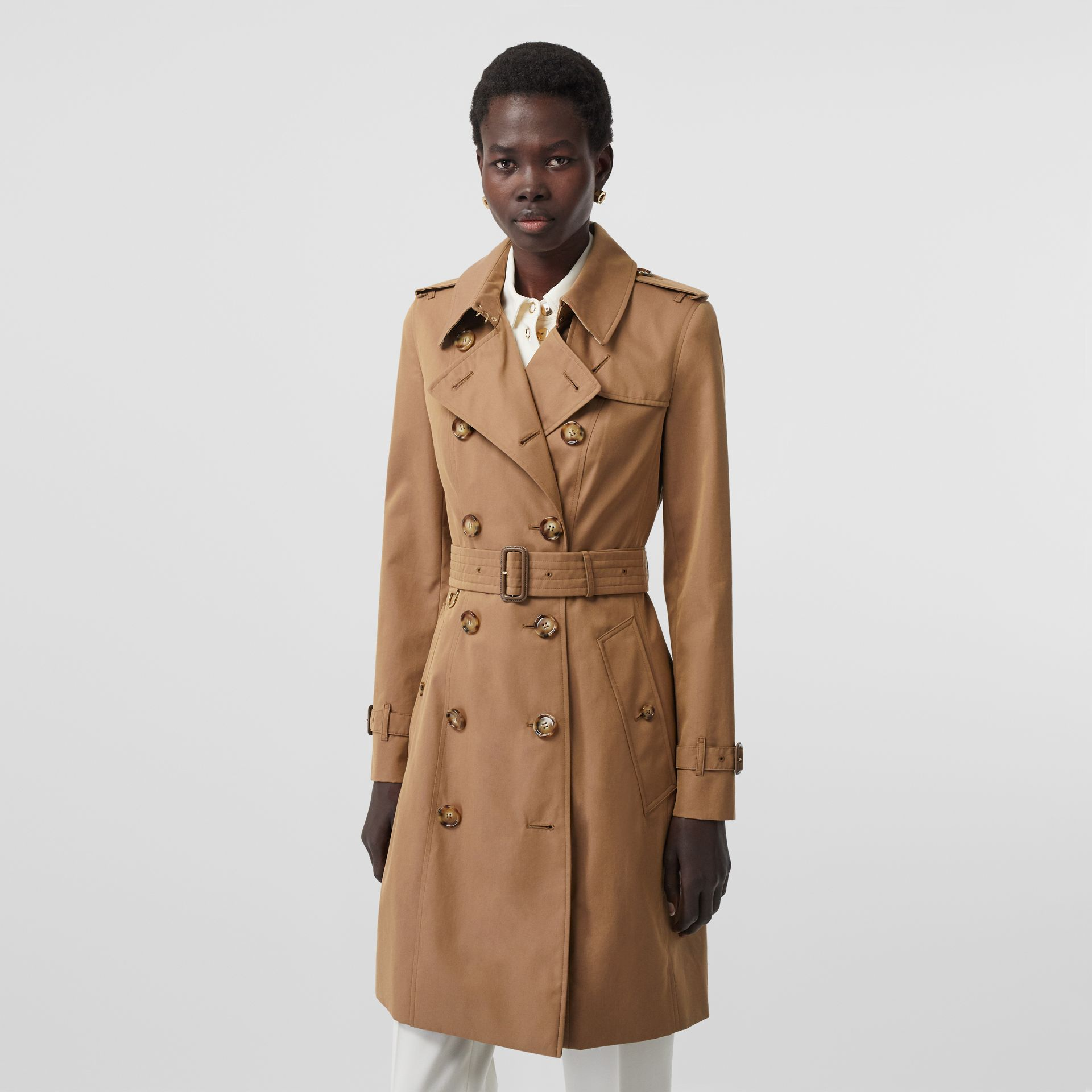 Cotton Gabardine Trench Coat in Warm Taupe - Women | Burberry - gallery image 6