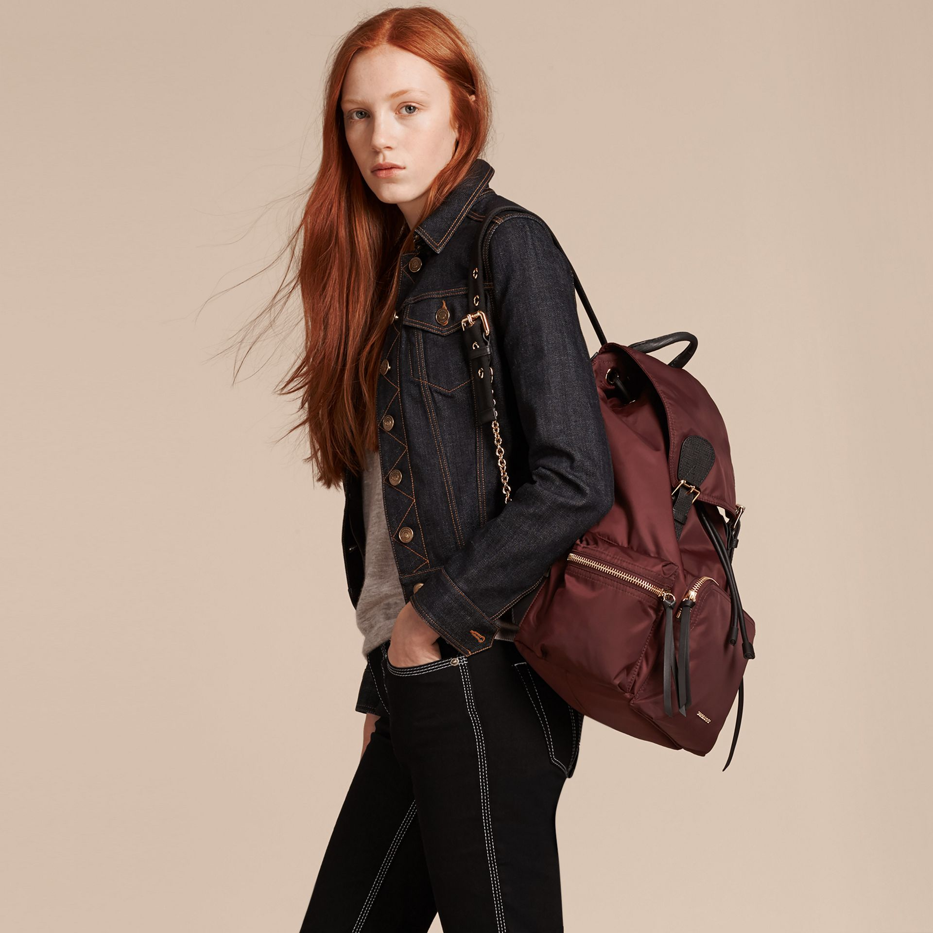 Burgundy red The Large Rucksack in Technical Nylon and Leather Burgundy Red - gallery image 3