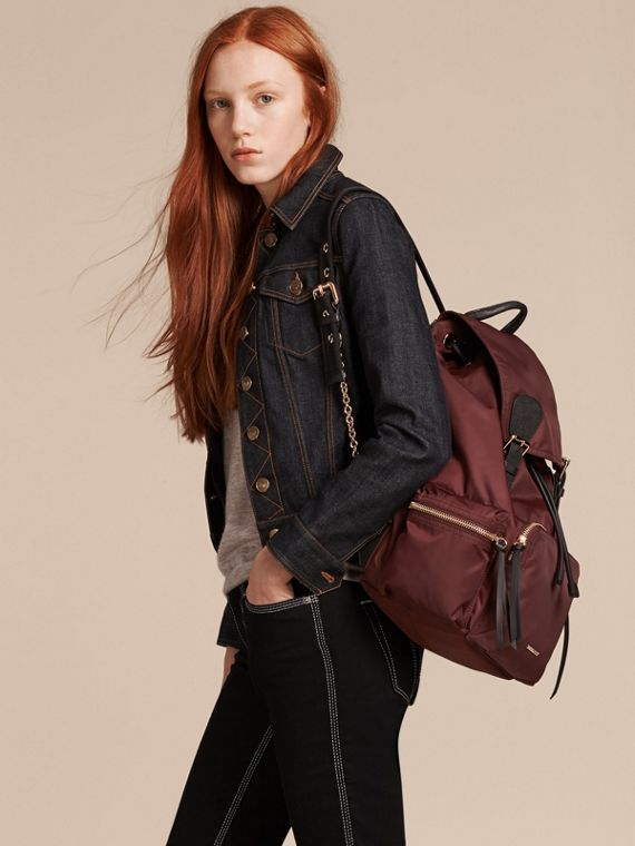 The Large Rucksack in Technical Nylon and Leather in Burgundy Red - cell image 3