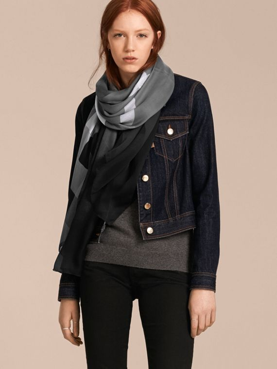 Ombré Washed Check Silk Scarf in Mid Grey - Women | Burberry Singapore - cell image 2