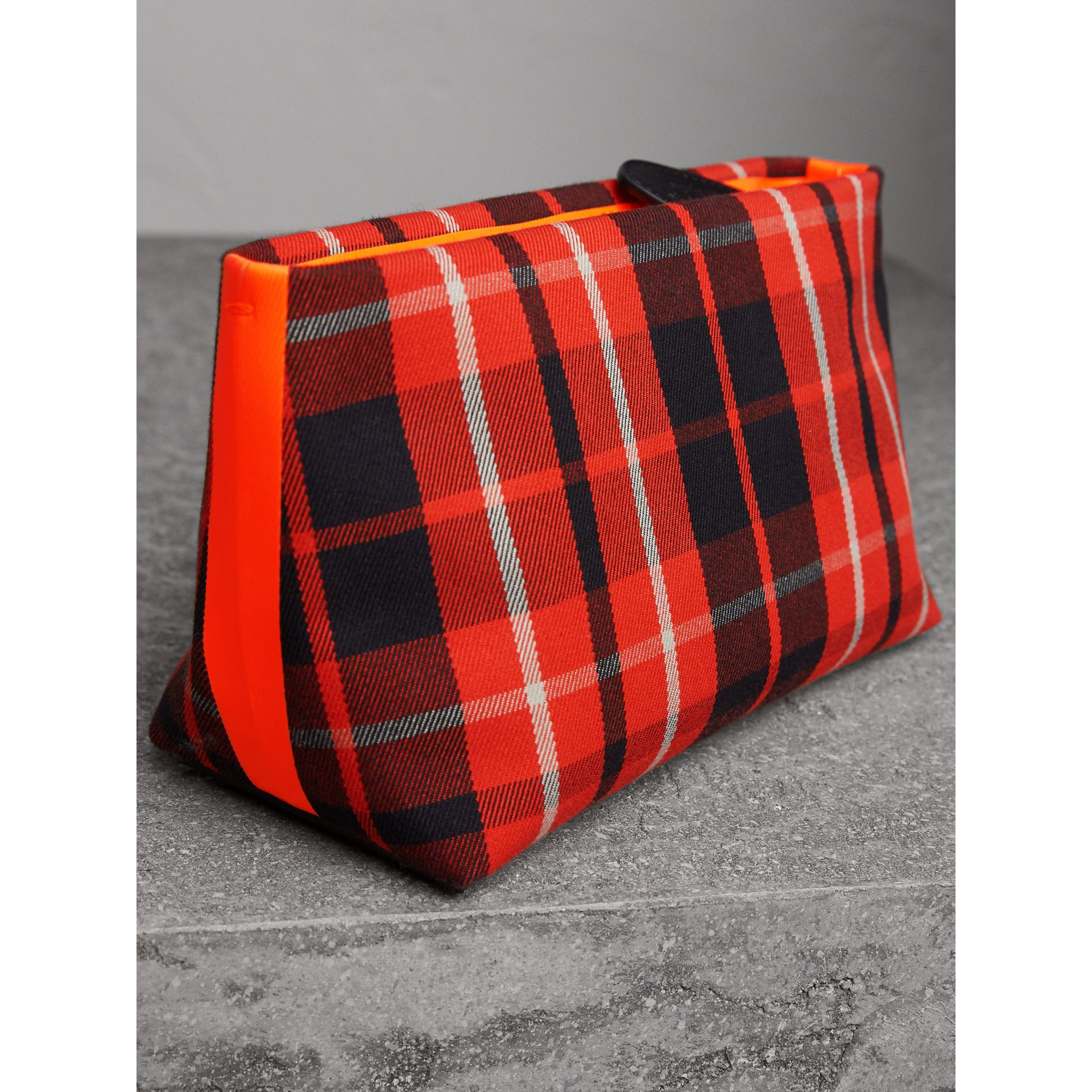 Tartan Cotton Clutch in Vibrant Red/flax Yellow | Burberry Australia - gallery image 5