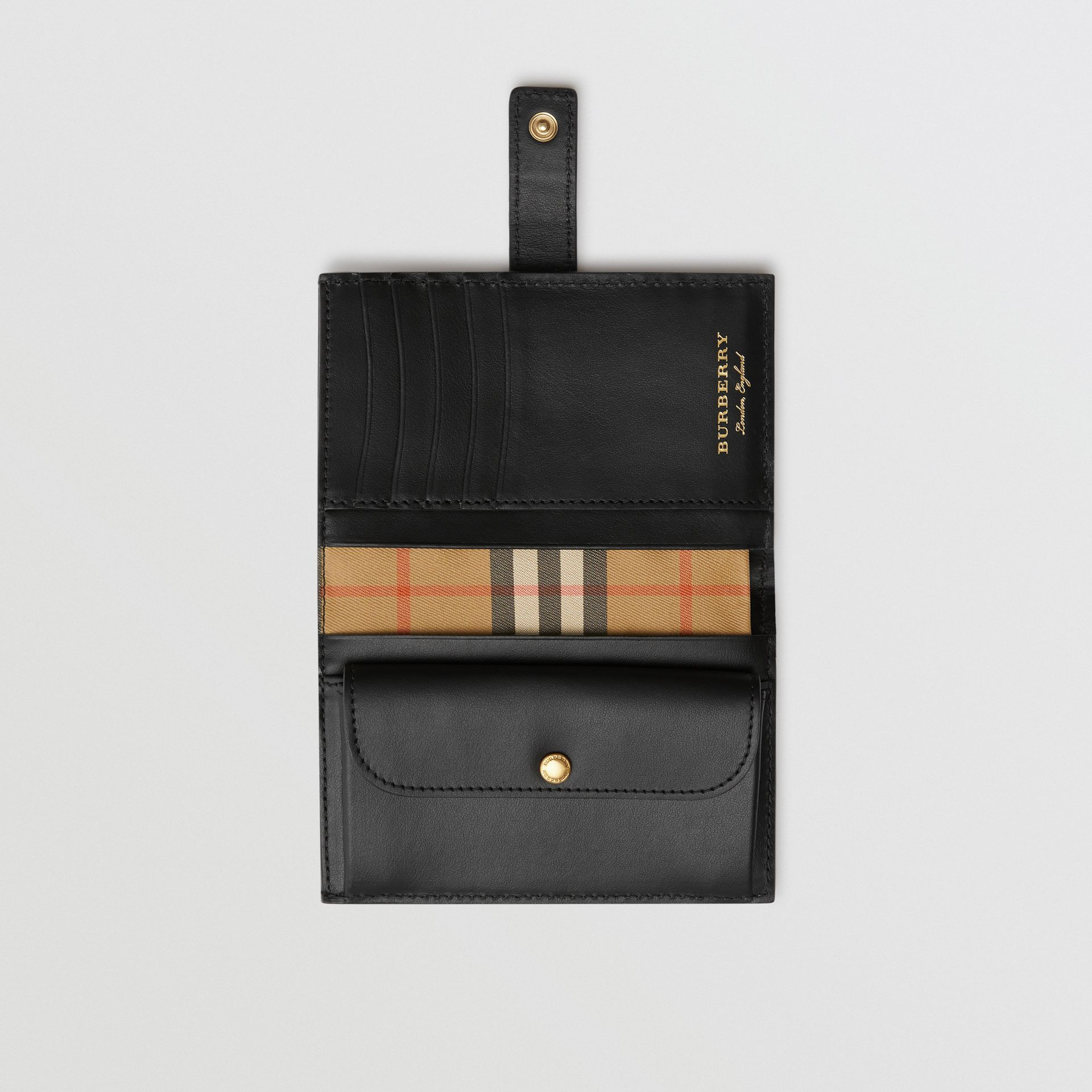 Vintage Check and Leather Folding Wallet in Black - Women | Burberry - gallery image 3