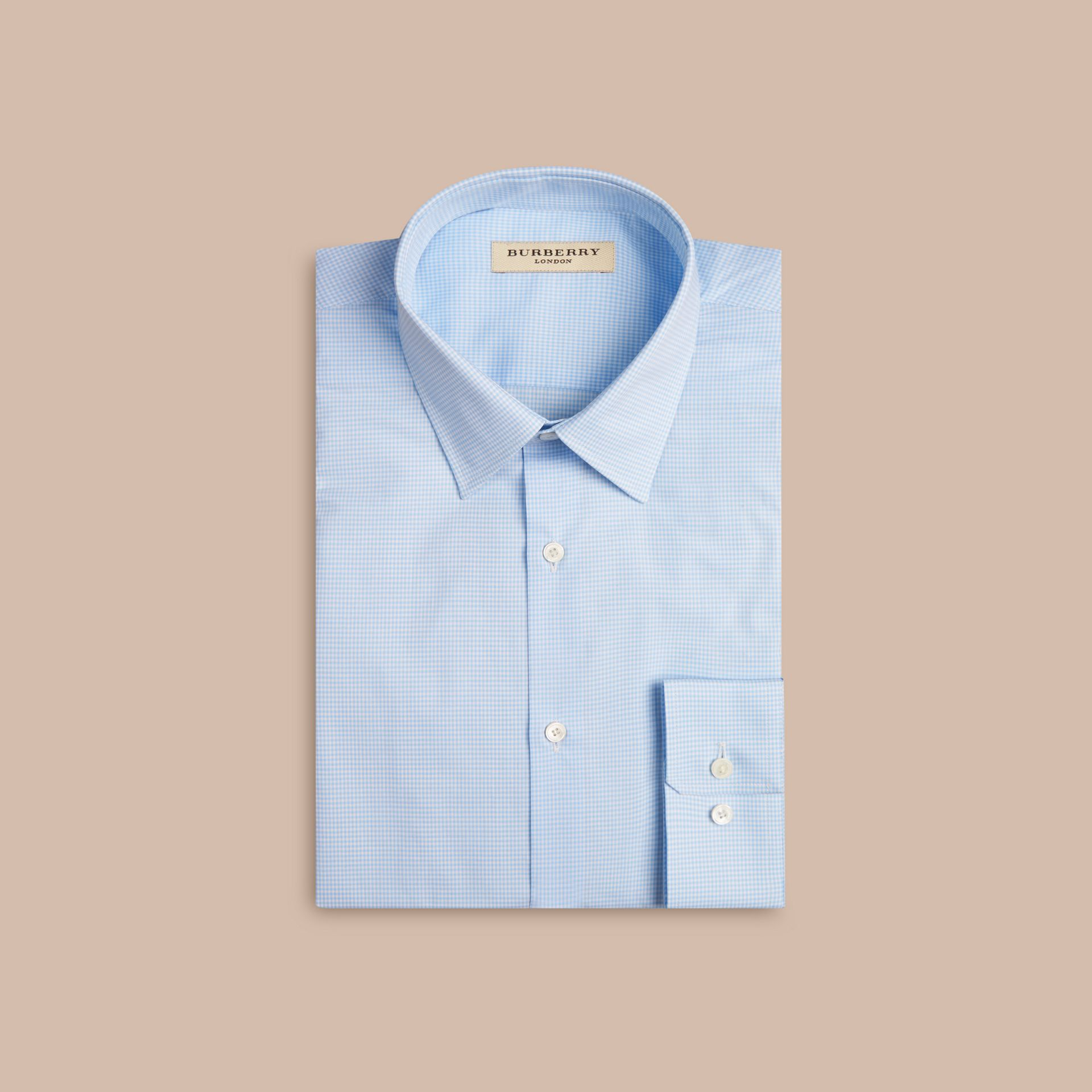 Modern Fit Gingham Cotton Poplin Shirt in City Blue - gallery image 4