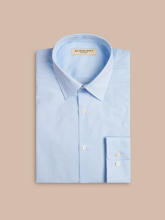 Modern Fit Gingham Cotton Poplin Shirt in City Blue - cell image 3