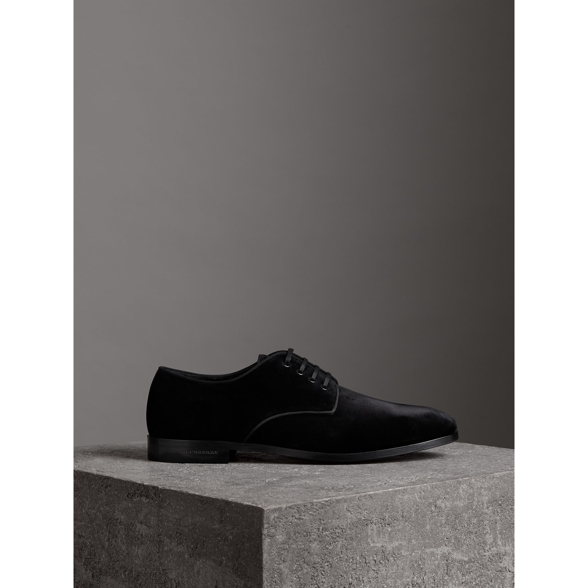 Velvet Derby Shoes in Black - Men | Burberry - gallery image 4