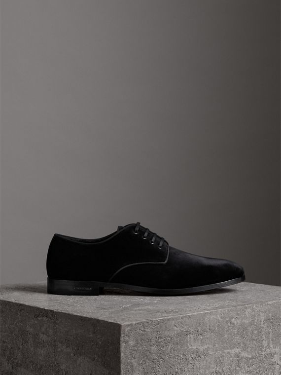 Velvet Derby Shoes in Black