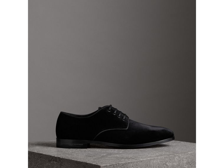 Velvet Derby Shoes in Black - Men | Burberry - cell image 4