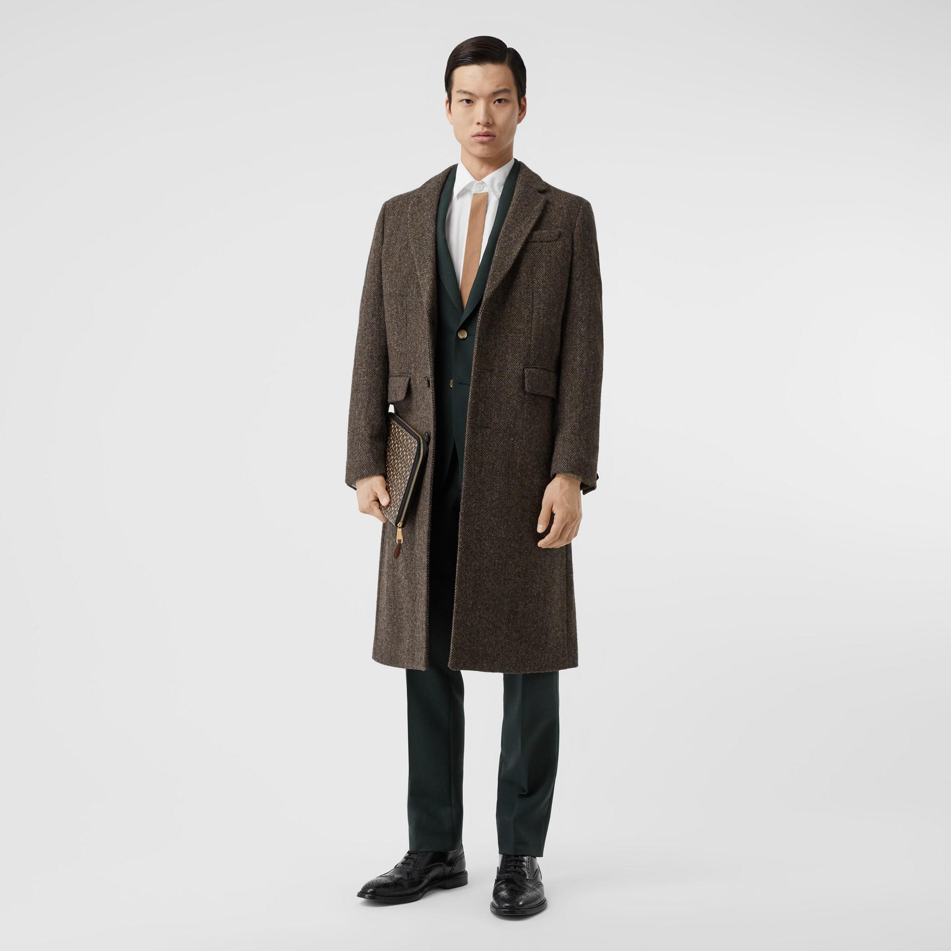 Herringbone Wool Tweed Coat in Brown - Men | Burberry Canada - gallery image 0