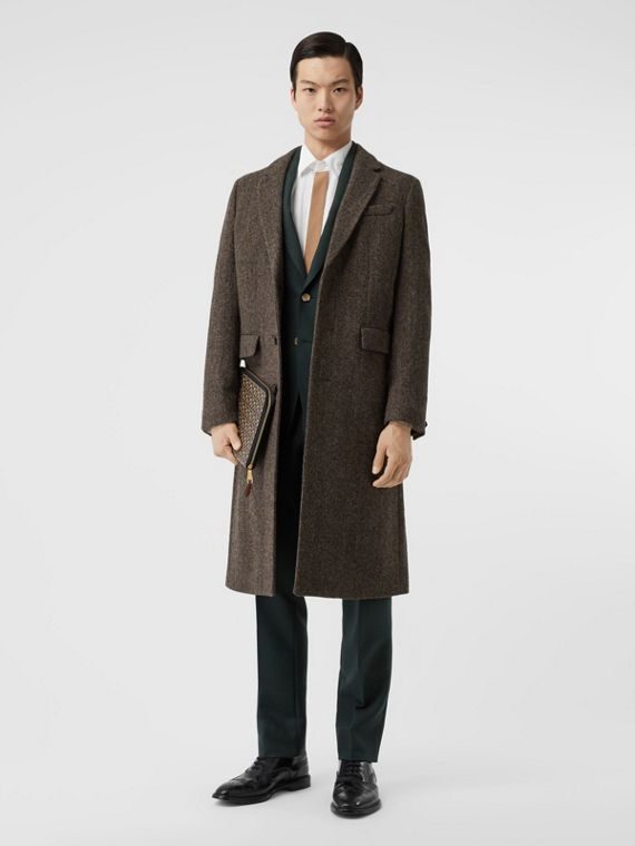 Herringbone Wool Tweed Coat in Brown