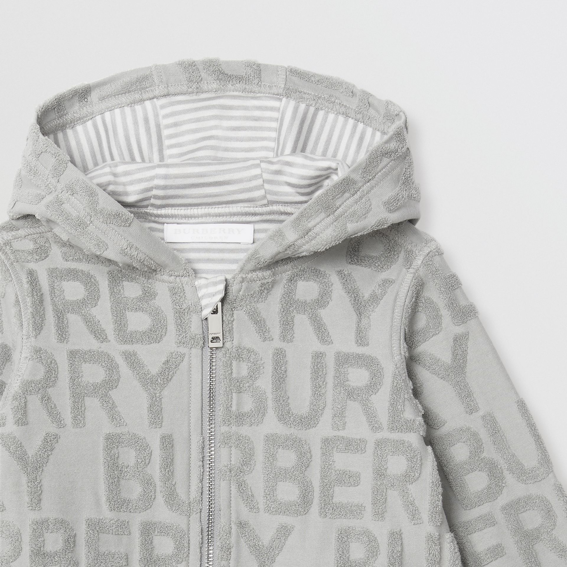 Logo Towelling Hooded Top in Pale Grey - Children | Burberry - gallery image 5