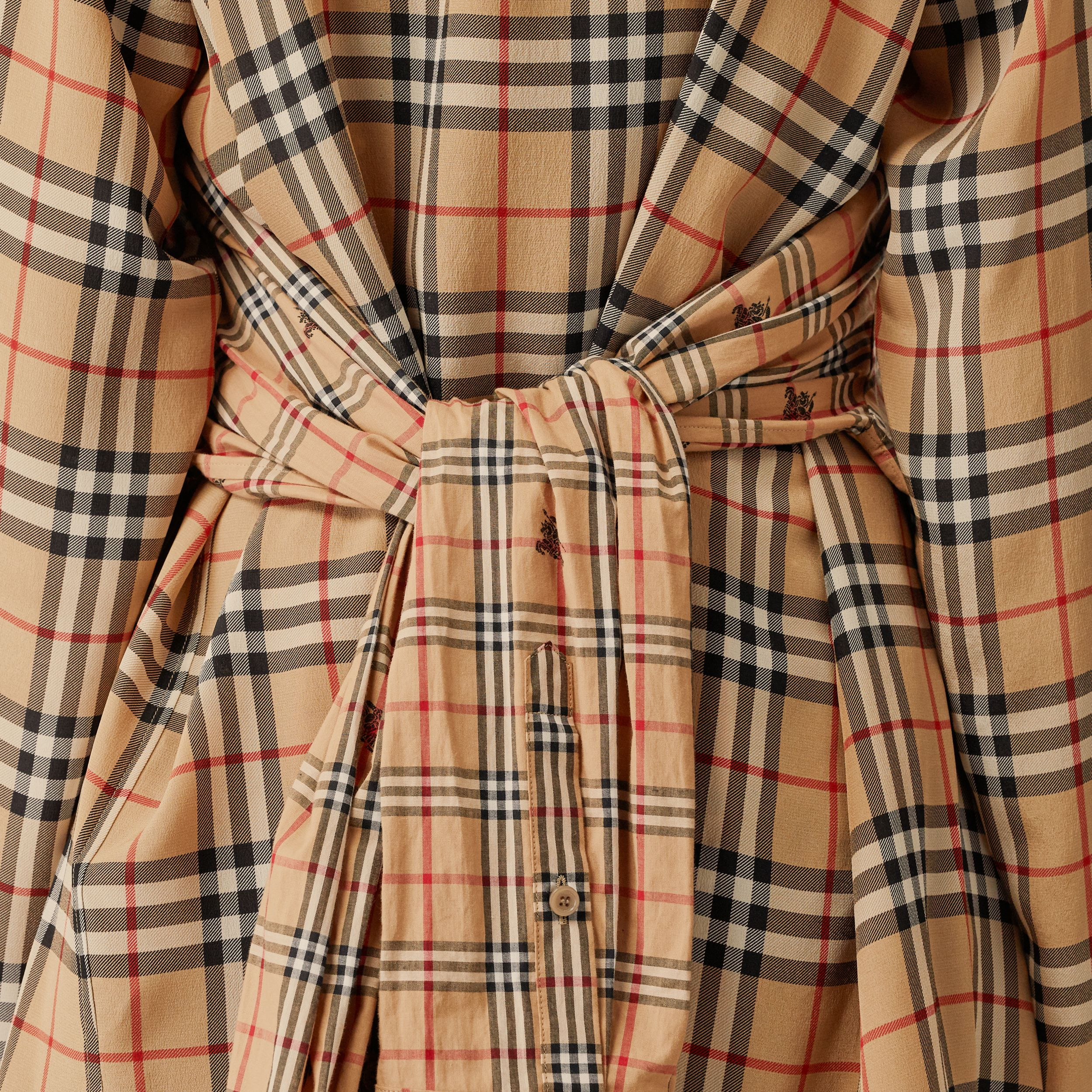 Vintage Check Silk and Cotton Shirt Dress in Archive Beige - Women | Burberry - 2