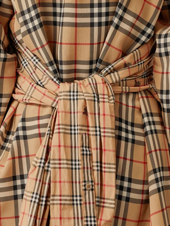 Vintage Check Silk and Cotton Shirt Dress in Archive Beige - Women | Burberry - cell image 1