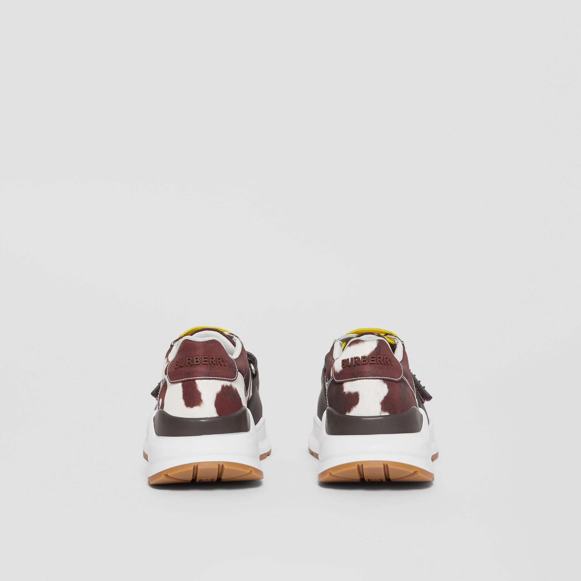 Cow Print Nylon Sneakers in Brown - Women | Burberry - gallery image 4