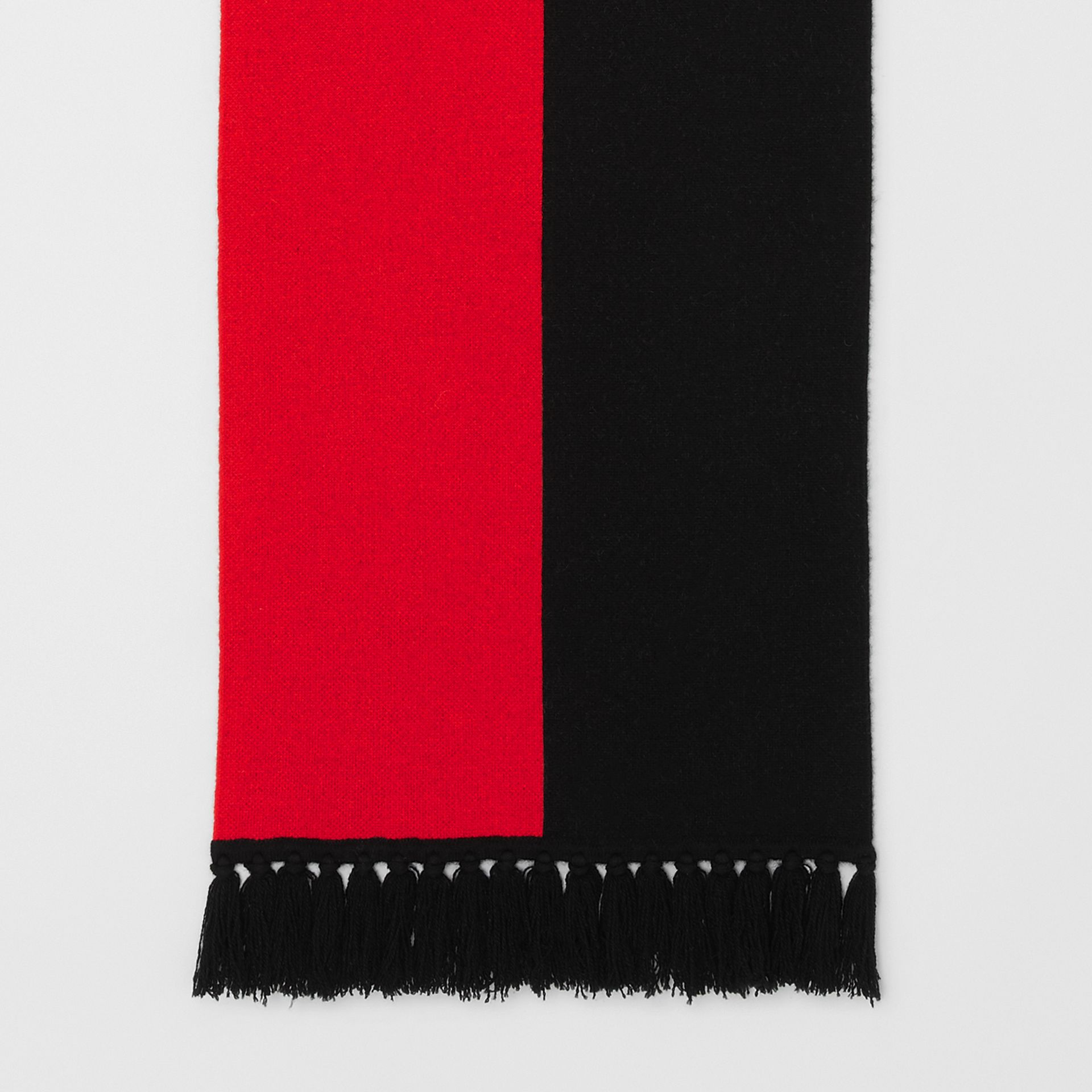 Logo Detail Striped Cashmere Jacquard Scarf in Bright Red | Burberry Singapore - gallery image 3