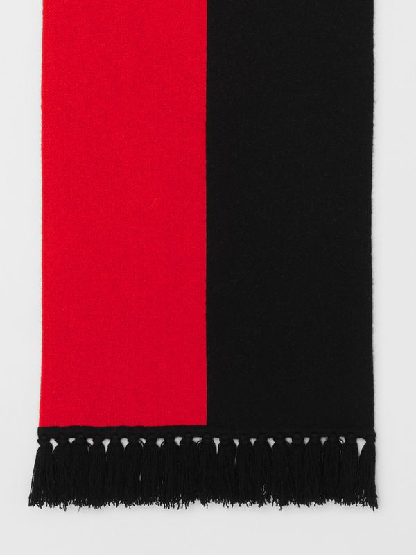 Logo Detail Striped Cashmere Jacquard Scarf in Bright Red | Burberry - cell image 2