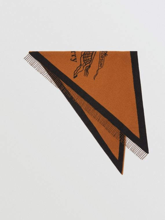 The Burberry Bandana in Crest Detail Wool Cashmere in Toffee