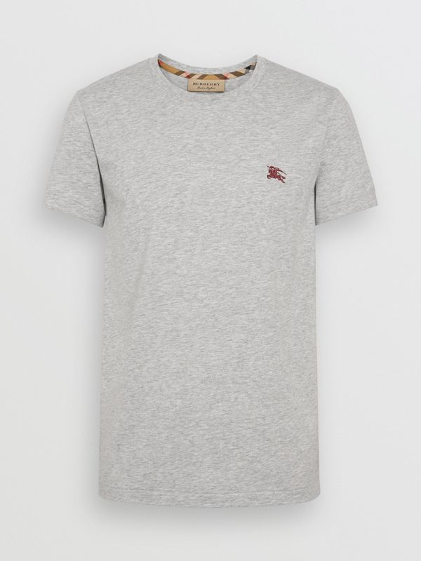 Cotton Jersey T-shirt in Pale Grey Melange - Men | Burberry Hong Kong - cell image 3