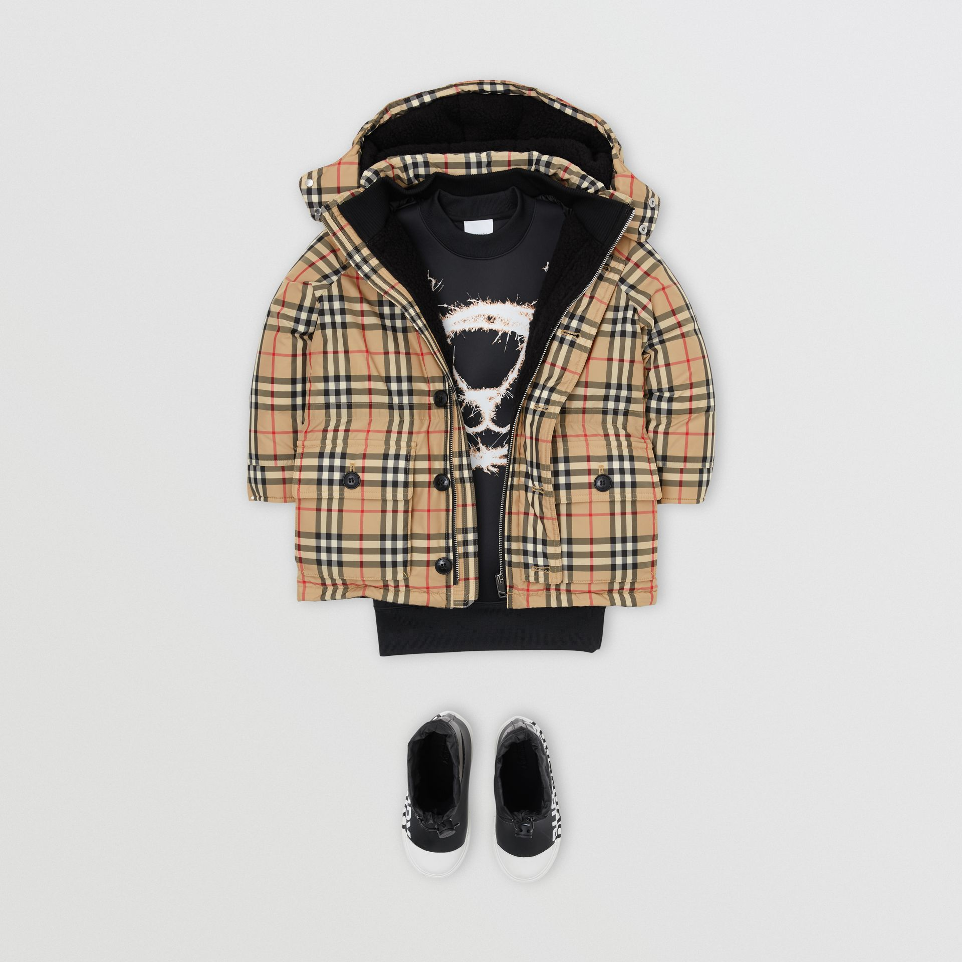 Vintage Check Down-filled Hooded Puffer Jacket in Archive Beige | Burberry - gallery image 2