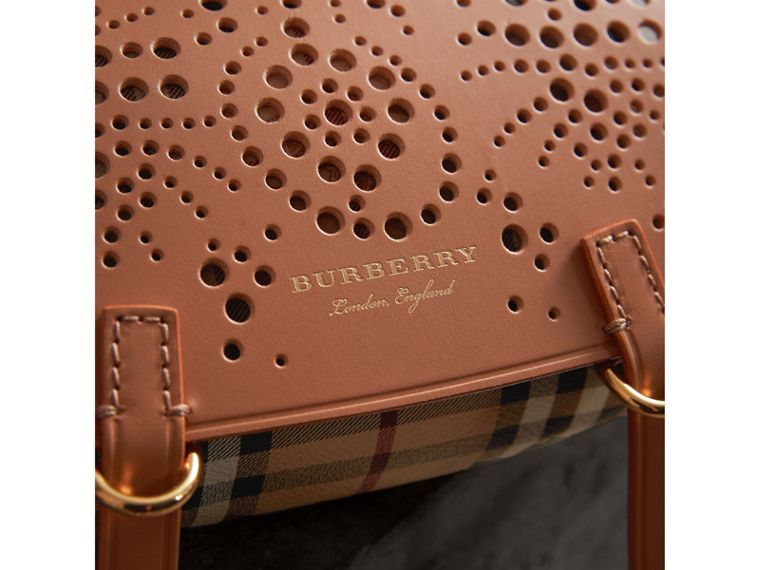 The Baby Bridle Bag in Leather and Haymarket Check in Pale Clementine - Women | Burberry - cell image 1