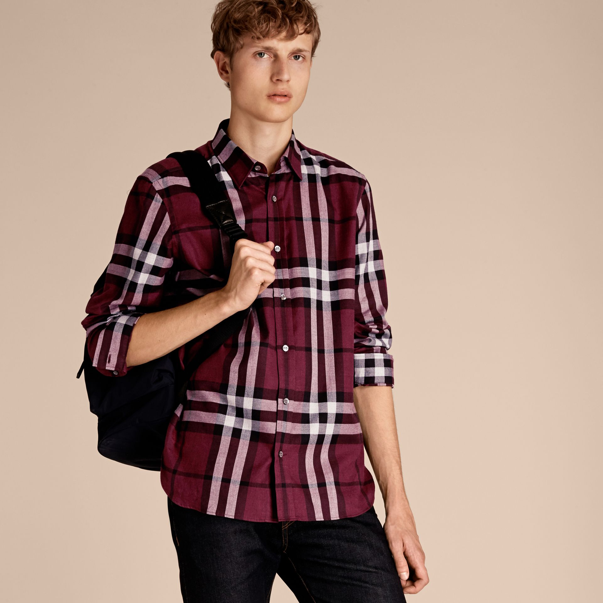 Deep claret Check Cotton Cashmere Flannel Shirt Deep Claret - gallery image 6