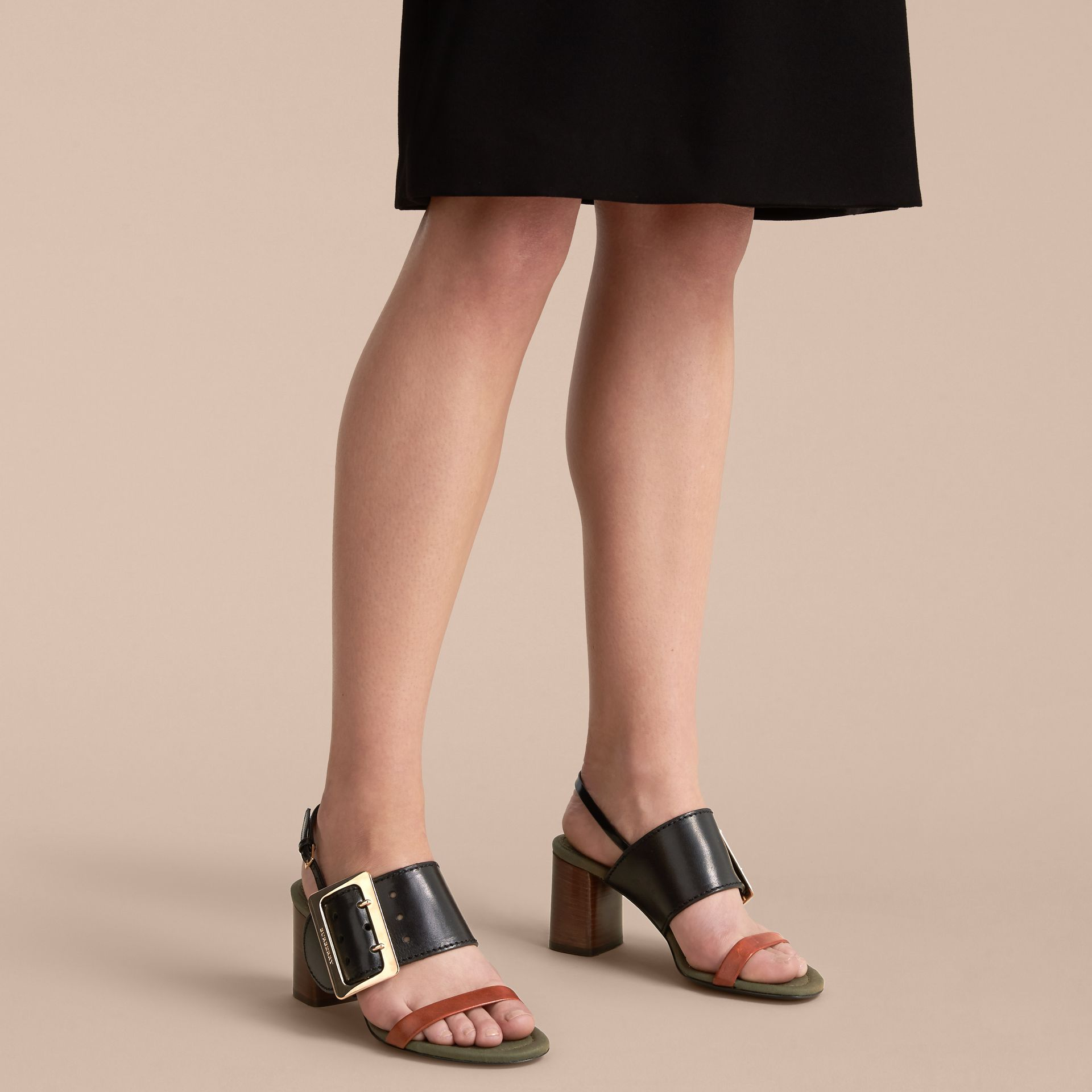 Buckle Detail Leather Sandals - Women | Burberry - gallery image 3