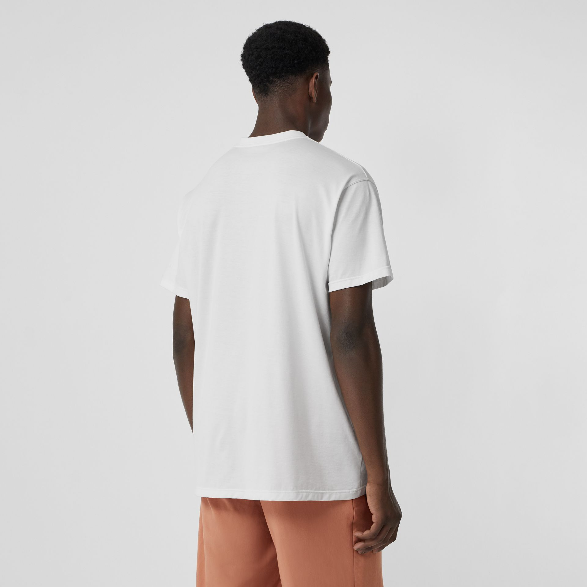 Logo Print Cotton Oversized T-shirt in White | Burberry United Kingdom - gallery image 2